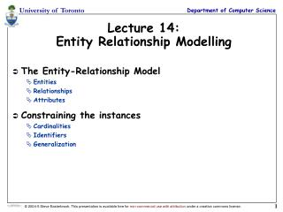 Lecture 14: Entity Relationship Modelling