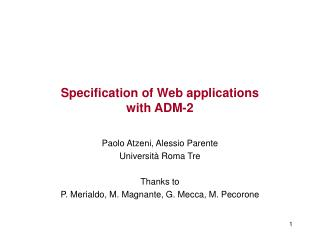 Specification of Web applications  with ADM-2
