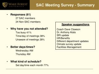 SAC Meeting Survey - Summary
