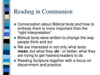Reading in Communion