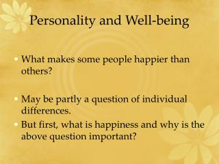 Personality and Well-being