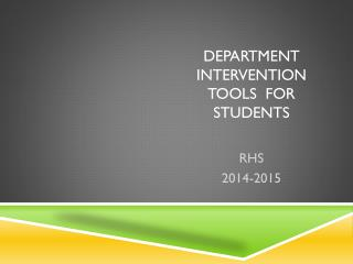 Department  intervention tools  for students