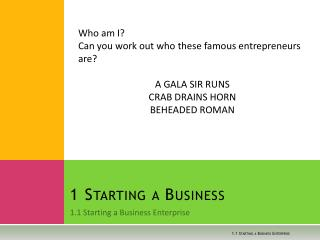 1 Starting a Business