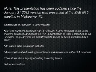 Review of FAA Laser Incidents in 2011