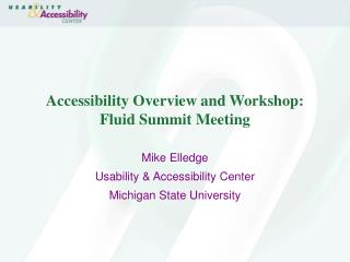 Accessibility Overview and Workshop: Fluid Summit Meeting