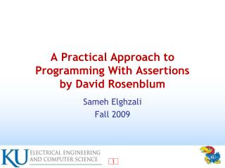 A Practical Approach to Programming With Assertions by David Rosenblum