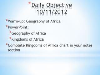 Daily Objective 10/11/2012