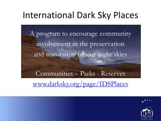 International Dark Sky Places