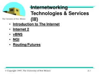 Internetworking Technologies & Services (III)