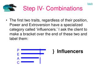 Step IV- Combinations