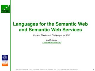 Languages for the Semantic Web and Semantic Web Services