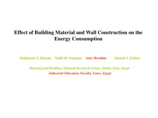 Effect of Building Material and Wall Construction on the Energy Consumption