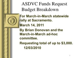 ASDVC Funds Request Budget Breakdown