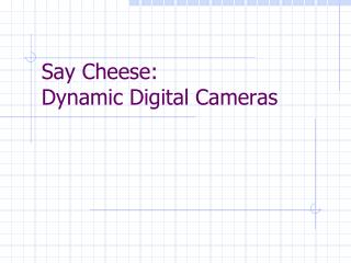Say Cheese:   Dynamic Digital Cameras