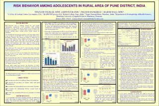 AIM To study the pattern of risk behavior in adolescents from rural area in Pune district, India.