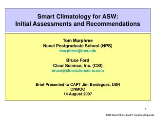 Smart Climatology for ASW: Initial Assessments and Recommendations