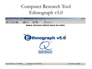 Computer Research Tool   Ethnograph v5.0