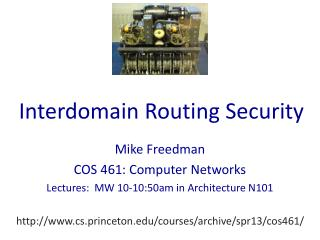 Interdomain Routing Security