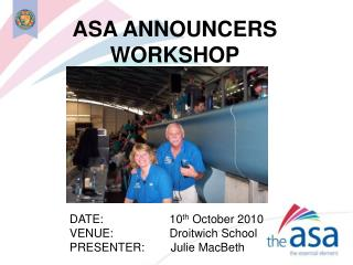ASA ANNOUNCERS WORKSHOP