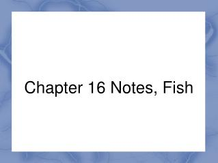 Chapter 16 Notes, Fish