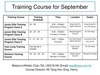 Training Course for September