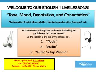 Welcome to our English 1 Live Lessons!