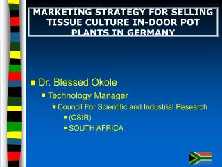 MARKETING STRATEGY FOR SELLING TISSUE CULTURE IN-DOOR POT PLANTS IN GERMANY