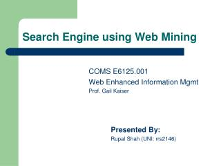 Search Engine using Web Mining