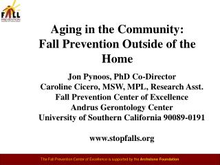 Aging in the Community:  Fall Prevention Outside of the Home