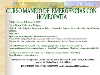 CURSO MANEJO DE  EMERGENCIAS CON  HOMEOPATIA