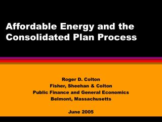 Affordable Energy and the Consolidated Plan Process