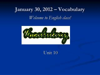 January 30, 2012 – Vocabulary