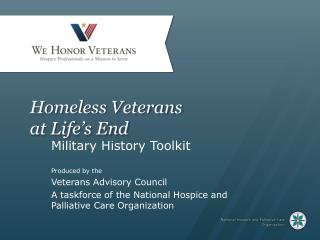 Homeless Veterans  at Life's End