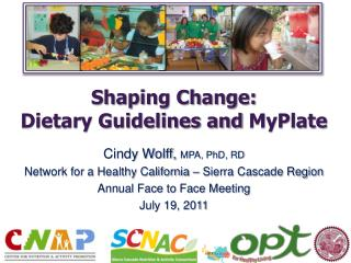 Shaping Change:  Dietary Guidelines and  MyPlate