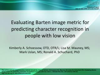 Evaluating Barten image metric for predicting character recognition in people with low vision