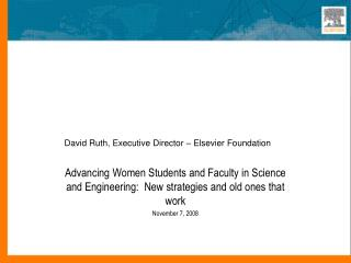 The Elsevier Foundation:  Ideas for Scholars with Family Responsibilities