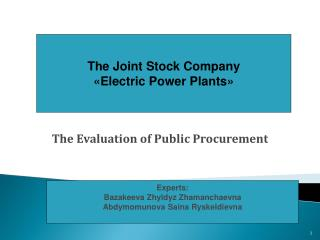 The Evaluation of Public Procurement
