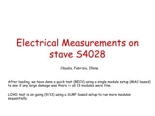 Electrical Measurements on stave S4028