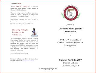 presented by Graduate Management Association at BOSTON COLLEGE