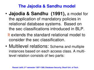 The Jajodia & Sandhu model