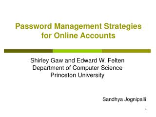 Password Management Strategies for Online Accounts