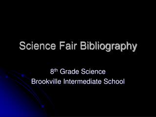 Science Fair Bibliography