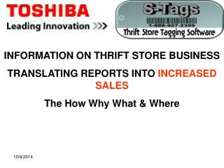 INFORMATION ON THRIFT STORE BUSINESS TRANSLATING REPORTS INTO INCREASED SALES
