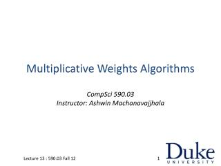 Multiplicative Weights Algorithms