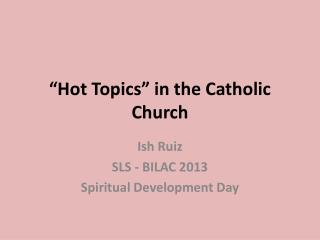 """Hot Topics"" in the Catholic Church"