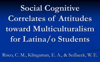 Social Cognitive Correlates of Attitudes toward Multiculturalism for Latina/o Students