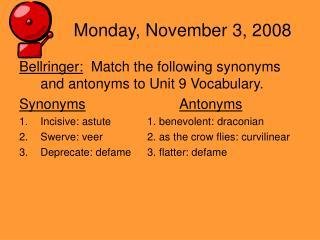 Monday, November 3, 2008