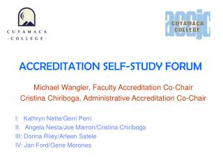 ACCREDITATION SELF-STUDY FORUM