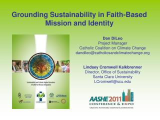 Grounding Sustainability in Faith-Based Mission and Identity