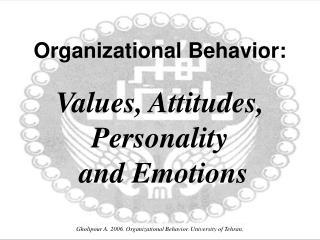 Organizational Behavior: Values, Attitudes,  Personality  and Emotions